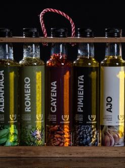 Pack especial 5 aceites con especies para cocina.