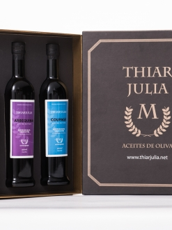 Caja de tres botellas 500 ml  Arbequina-Farga Milenaria-Coupage