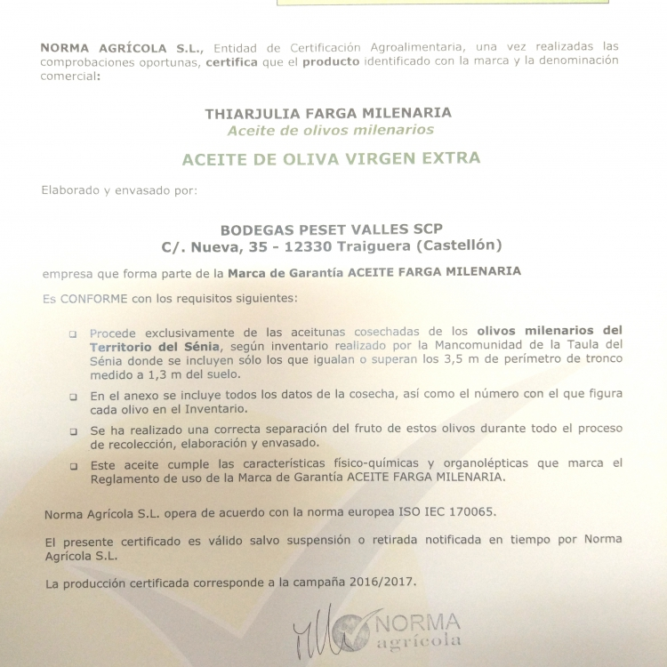 Certificado oficial olivos milenarios